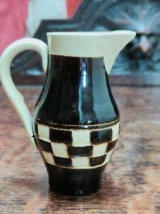 Antique Small Mocha Ware Chequered Milk Cream Jug