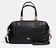 NWT~~ Coach F59325 Lenox Satchel CrossBody Bag In Pebble Leather Black