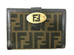 Authentic FENDI Zucca Bifold Wallet Canvas Leather 92639
