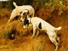 Oil painting arthur wardle - no one home two dogs with The Mole in landscape art