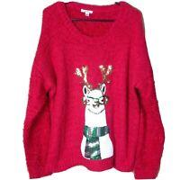 Kela Womens Size Large Red Sweater Ugly Christmas Holiday Party Llama