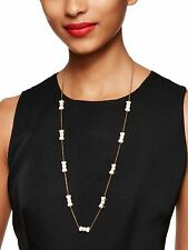 KATE SPADE TAKE A BOW LACQUER CREAM MOON RIVER BEAU STUD EARRINGS & NECKLACE SET
