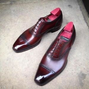 Men's Handmade Leather Ox Blood Patina Dress shoes, burgundy men oxford shoes