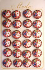 Vintage Bohemian Hand Painted Pressed Glass Flower Buttons 18 mm