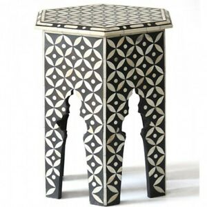 Made to Order Indian Handmade Bone Inlay Hexagonal Side Table Black Geometric