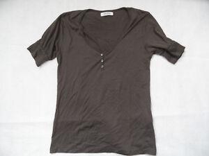 ACNE Jeans schönes Shirt Ballonärmel Knopfleiste braun Gr. M TOP KoS1018