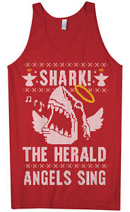 Shark! The Herald Angels Sing Men's Tank Top Christmas Gift