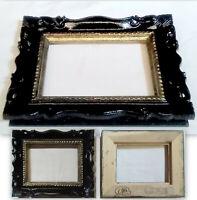 C014  Luce 18,5X13,6 cm  CORNICE BAROCCO NERA E ORO ANTICATO FIRMATA medippolito