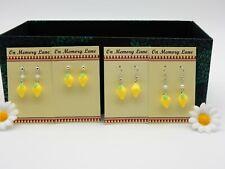 Vintage Retro St Novelty 3D LEMON Dangle Hook EARRINGS Gift Dress Accessory