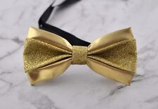 Mens PVC Faux Leather Gold Golden Shining Bow Tie Bowties Wedding Party