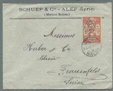 Syria 1920 cover with surcharged Revenue Stamp 1 pi on 5 pa Halep > Switzerland