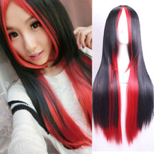 Fashion Long Black Red Straight Women Lady Cosplay Party Anime Hair Wig Wigs+Cap