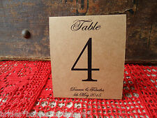 Kraft Brown Table Numbers 1 to 10 Tent Style Wedding Birthday Party Personalised