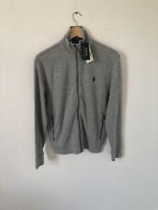 NEW Size Small Polo Ralph Lauren Estate Rib Grey Zip Jumper Sweater Cardigan