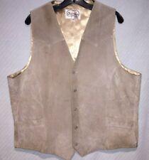 Men's Size 48 L Oakridge by Scully Light Tan Suede Button-Up Western Style Vest