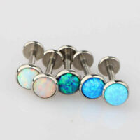 Opal Lip Bar Labret Ring Internally Threaded Ear Tragus Cartilage Stud Piercing#