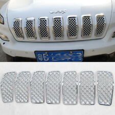 For Jeep Cherokee 2014-2016 7*Front Grille Inserts Mesh Grill Cover Trim Chrome