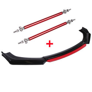 For Dodge Charger SRT RT SXT Red Front Bumper Lip Spoiler Splitter + Strut Rods
