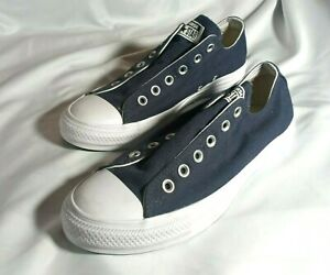 Converse Low Top Dark Blue No Lace Slip On Womens 8.5 Mens 6.5