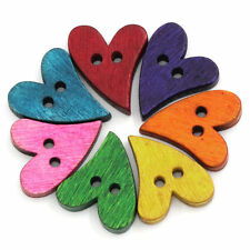 Wooden Heart Buttons, Vintage, Sewing, Haberdashery, Cardmaking, Scrapbooking