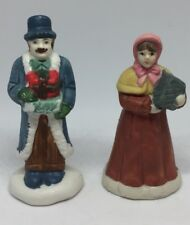 Lot Of 2 Christmas Village Accessories Couple Husband Wide People Holiday