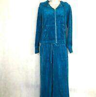 Vintage Signature Studio Velour Hooded Track Suit Activewear Women Size M Blue