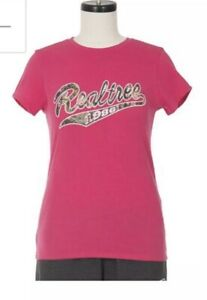 Womens Ladies Realtree T Shirt Pink Camo Size Large