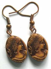 brown cameo EARRINGS double sided - Jewellery