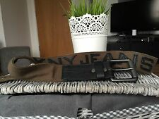 "DKNY Mens L Moss Fall 11 Canvas Leather Belt 38"" - 42"" 102 cm"