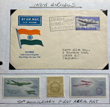 1948 Bombay India Airmail First Flight Cover FFC To London England W Stamps