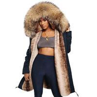 Women's REAL Raccoon Fur Collar Hooded Coat Winter Parka Warm Long Jacket--Gift