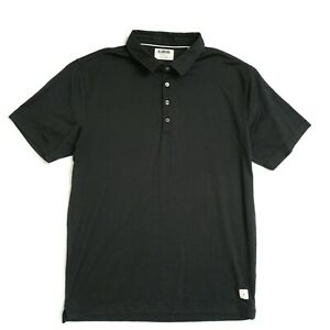 Linksoul Mens Short Sleeve Polo Shirt Size Large Black Polyester Cotton