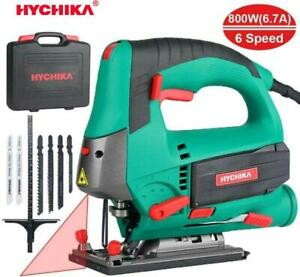 HYCHIKA JigSaw 800W 6.7A Wood Metal Cutting Power Tool 6 Variable Speeds 6Blades