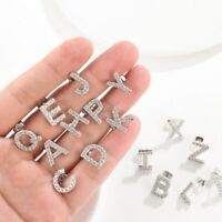 ALPHABET LETTER INITIAL STUD EARRINGS 18K White Gold Plated (Sold In Pairs, A-Z)