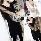 Korean Fashion Women Lace Floral Puff Sleeve Chiffon Evening Party Shirt Dress