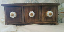 NEW! LOVELY WOOD TRINKET JEWELLERY BOX 3 MINI CHEST OF DRAWERS SHABBY CHIC