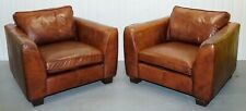 STUNNING PAIR OF VINTAGE LEATHER ARMCHAIRS