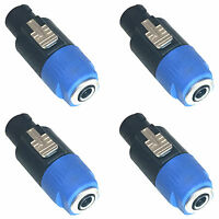 "MUSYSIC Speakon 4-Pole to 1/4"" TS Female Adapter Converter Jack Connector 4-Pack"