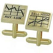 NEW Gold Plated Shares Cufflinks Great Gift Idea Buy Low Sell High Wall Street
