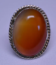 HANDCRAFTED STERLING SILVER HUGE OVAL APRICOT COLOR AGATE RING - SIZE 7
