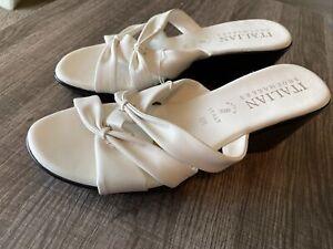Womens Shoes-Italian Shoemakers-8M-Wedge -White