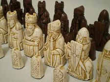 Isle of Lewis chess set - Brown and Bone