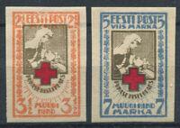 Estonie 1921 Mi. 29B-30B Neuf * 100% Croix-rouge