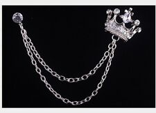1 pic Silver Crown Chain Crsytal Stud Blouse Shirt Collar Neck Tip Brooch Pin AD