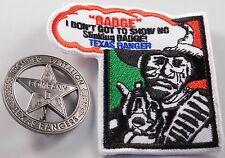 Texas Rangers Co. D Peso Back Badge Silver Plated - W/Texas Ranger Patch - USA