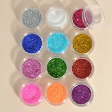 12PCS Color DIY Glitter Dust Powder Tips Nail Art Decoration Stylish New FT