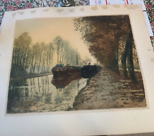 Early 1900's Original etching signed by Henri Jourdain Canal Boats In France