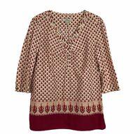 Bob Timberlake Womens Boho Tunic Large Burgundy Print 3/4 Sleeve V-Neck Cotton