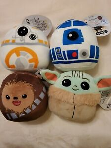 """SQUISHMALLOWS 5"""" STAR WARS The Child Chewy BB8 & R2D2 Lot of 4 Mandalorian Plush"""