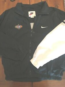 Vintage 90s Nike Men's Black Windbreaker Superbowl XXXII Packers Broncos Large